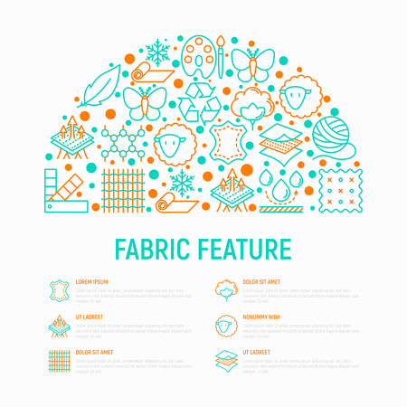 Fabric feature concept in half circle with thin line icons: leather, textile, cotton, wool, waterproof, acrylic, silk, eco-friendly material, breathable. Modern vector illustration, web page template