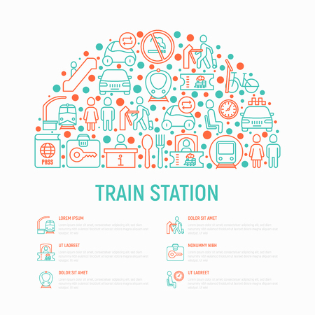 Train station concept in half circle with thin line icons: information, ticket office, toilet, taxi, metro, waiting room, luggage storage, turnstile, food court, no smoking. Vector illustration. Illustration