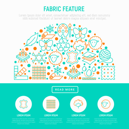 Fabric feature concept in half circle with thin line icons: leather, textile, cotton, wool, waterproof, acrylic, silk, eco-friendly material, breathable material. Vector illustration web page template