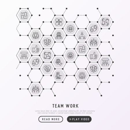 Teamwork concept in honeycombs with thin line icons: group of people, mutual assistance, meeting, handshake, tug-of-war, cooperation, puzzle, team spirit, cooperation. Modern vector illustration. Illustration