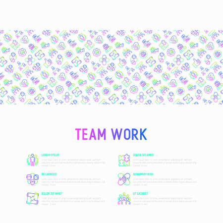 Teamwork concept with thin line icons: group of people, mutual assistance, meeting, handshake, tug-of-war, cooperation, puzzle, team spirit, cooperation. Modern vector illustration, web page template.