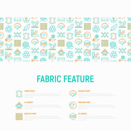 Concept de fonctionnalité de tissu avec des icônes de lignes fines: cuir, textile, coton, laine, imperméable, acrylique, soie, matériau écologique, matériau respirant. Illustration vectorielle moderne, modèle de page Web. Vecteurs