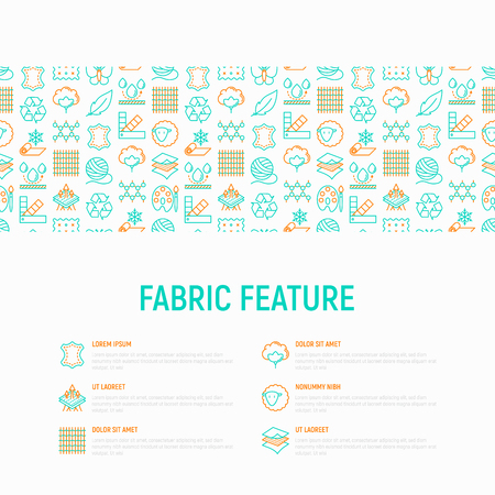 Fabric feature concept with thin line icons: leather, textile, cotton, wool, waterproof, acrylic, silk, eco-friendly material, breathable material. Modern vector illustration, web page template.
