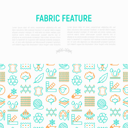 Fabric feature concept with thin line icons: leather, textile, cotton, wool, waterproof, acrylic, silk, eco-friendly material, breathable material. Modern vector illustration for banner, print media Illustration