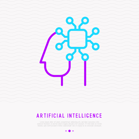 Artificial intelligence or machine learning thin line icon, chip in head. Modern vector illustration. Illustration