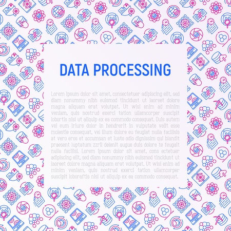 Data processing concept with thin line icons: data science, filtering, deep learning, mobile syncing, big data, modeling API, usage, tracking, cloud database. Vector illustration for print media. Illustration