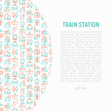 Train station concept with thin line icons: information, ticket office, toilet, taxi, metro, waiting room, luggage storage, turnstile, food court, no smoking, bicycles rent. Modern vector illustration
