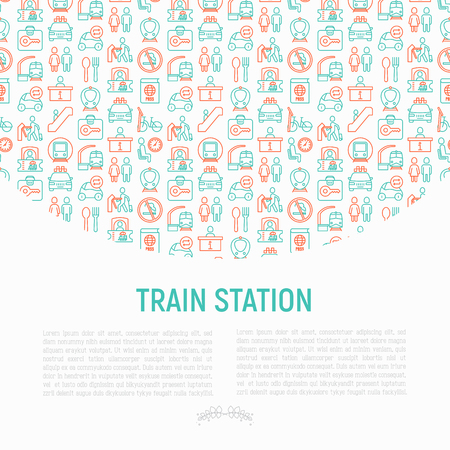 Train station concept with thin line icons: information, ticket office, toilet, taxi, metro, waiting room, luggage storage, turnstile, food court, no smoking, bicycles rent. Modern vector illustration for banner, print media.