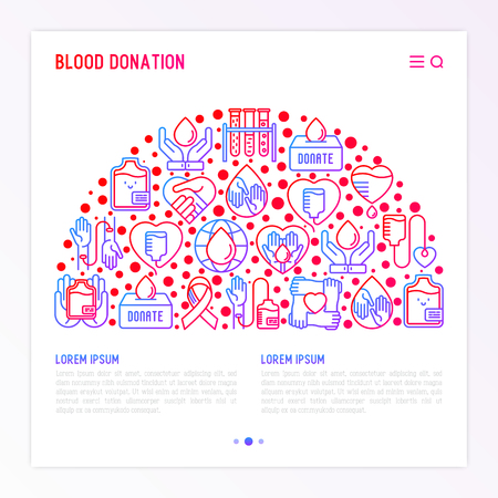 Blood donation, charity, mutual aid concept in half circle with thin line icons. Symbols of blood transfusion, medical help and volunteers. Vector illustration, , print media for World donor's day.
