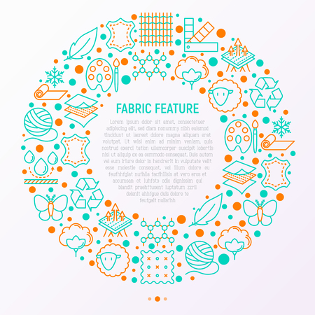 Fabric feature concept in circle with thin line icons: leather, textile, cotton, wool, waterproof, acrylic, silk, eco-friendly material, breathable material. Modern vector illustration for banner.