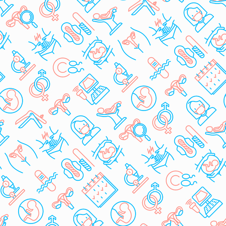 Gynecologist seamless pattern with thin line icons: uterus, ovaries, gynecological chair, pregnancy, ultrasound, sanitary napkin, test, embryo, menstruation, ovulation. Modern vector illustration.