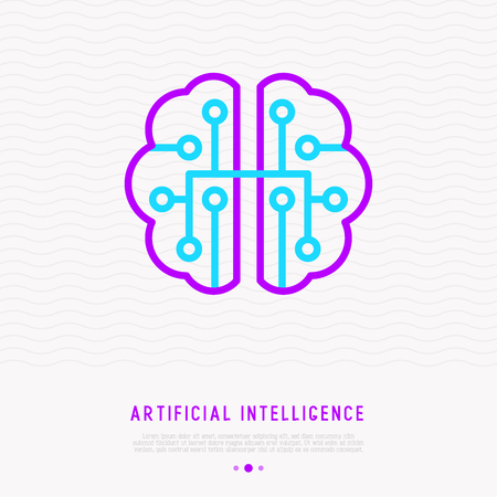 Artificial intelligence or machine learning thin line icon. Modern vector illustration. Stock Vector - 109690669