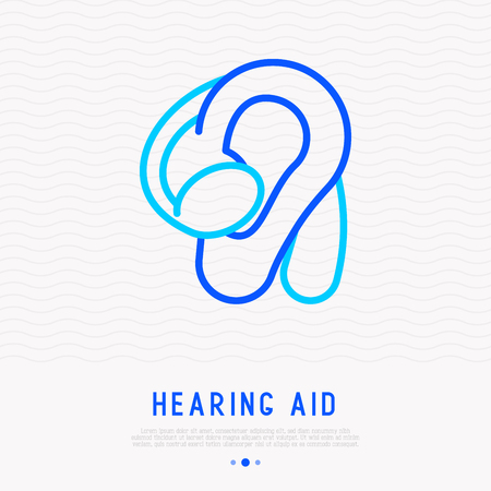 Hearing aid thin line icon. Modern illustration of medical equipment for deaf people. Illustration