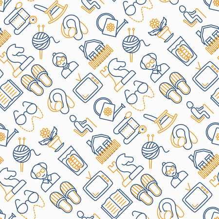 Elderly people seamless pattern with thin line icons: grandmother, grandfather, glasses, slippers, knitting, rocking chair, hearing aid, flowers, reading, false jaw, chess. Modern vector illustration. Stock Illustratie