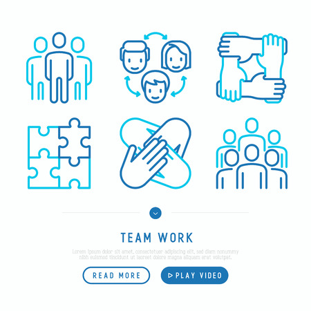 Teamwork thin line icons set: group of people, mutual assistance, meeting, handshake, cooperation, puzzle, team spirit, cooperation. Modern vector illustration. Vetores
