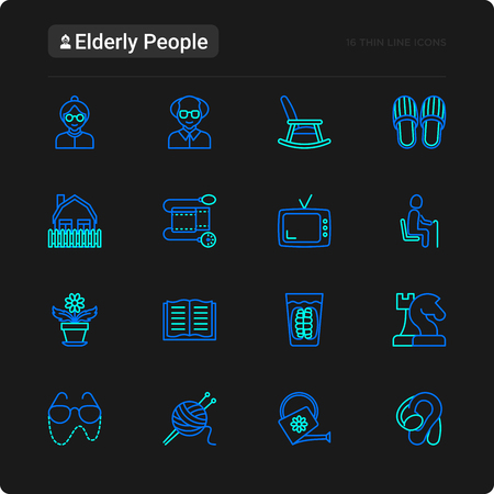 Elderly people thin line icons set: grandmother, grandfather, glasses, slippers, knitting, rocking chair, hearing aid, flowers. Modern vector illustration for black theme. Ilustrace