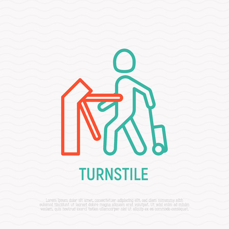 Man with suitcase going through turnstile. Thin line icon. Modern vector illustration.