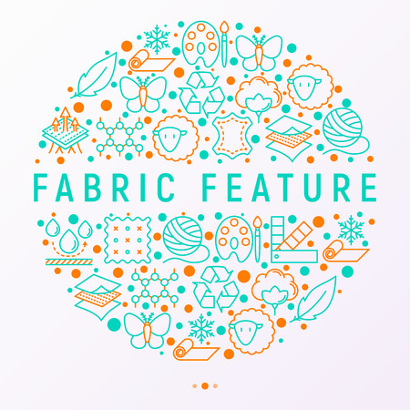 Fabric feature concept in circle with thin line icons: leather, textile, cotton, wool, waterproof, acrylic, silk, eco-friendly material, breathable material. Modern vector illustration for banner. Vetores