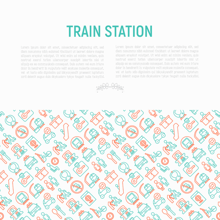 Train station concept with thin line icons: information, ticket office, toilet, taxi, metro, waiting room, luggage storage, turnstile, no smoking, bicycles rent. Modern vector illustration for banner