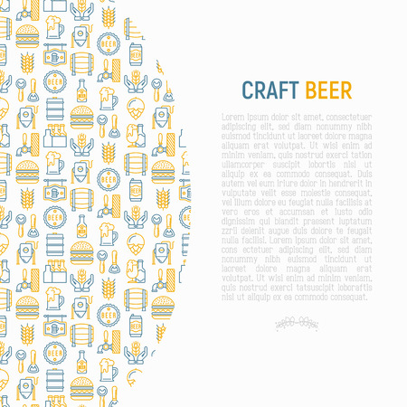 Craft beer concept with thin line icons related to Octoberfest: beer pack, hop, wheat, bottle opener, manufacturing, brewing, tulip glass, mag with foam, can. Modern vector illustration for print media.
