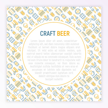 Craft beer concept with thin line icons related to Octoberfest: beer pack, hop, wheat, bottle opener, manufacturing, brewing, tulip glass, mag with foam, can. Vector illustration for print media.