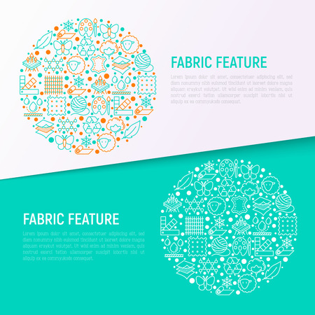 Fabric feature concept in circle with thin line icons: leather, textile, cotton, wool, waterproof, acrylic, silk, eco-friendly material, breathable material. Vector illustration, web page template.