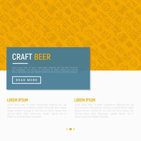 Craft beer concept with thin line icons related to Octoberfest: beer pack, hop, wheat, bottle opener, manufacturing, brewing, tulip glass, mag with foam. Modern vector illustration for print media. Illustration