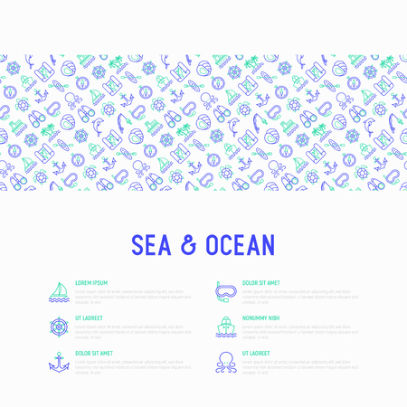 Sea and ocean journey concept with thin line icons: sailboat, fishing, ship, oysters, anchor, octopus, compass, steering wheel, snorkel, dolphin, sea turtle. Modern vector illustration for print media