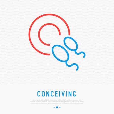 Conceiving thin line icon, sperm in egg. Modern vector illustration of fertilization.