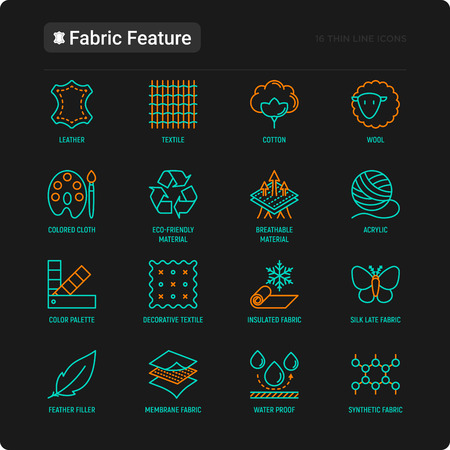 Fabric feature thin line icons set: leather, textile, cotton, wool, waterproof, acrylic, silk, eco-friendly material, breathable material. Modern vector illustration for black theme.