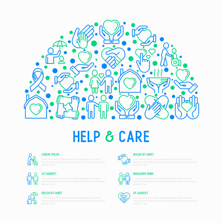 Help and care concept in half circle with thin line icons: symbols of support, help for children and disabled, togetherness, philanthropy and donation. Vector illustration, template for print media.