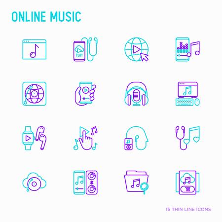 Ensemble d'icônes de ligne mince de musique en ligne : smartphone avec application mobile, écouteurs, écouteurs, égaliseur, haut-parleur, montre intelligente, microphones, note, abonnement. Illustration vectorielle moderne.