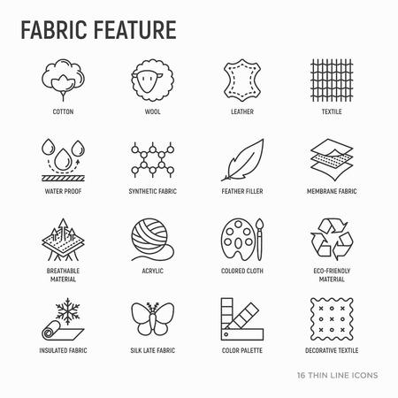 Tessuto con set di icone di linee sottili: pelle, tessuto, cotone, lana, impermeabile, acrilico, seta, materiale ecologico, materiale traspirante. Moderna illustrazione vettoriale.