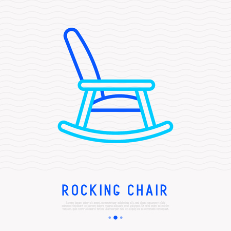 Rocking chair thin line icon. Modern vector illustration.