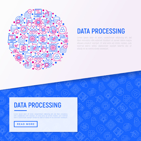 Data processing concept in circle with thin line icons: data science, filtering, deep learning, mobile syncing, big data, , tracking, cloud database. Modern vector illustration for banner, print media