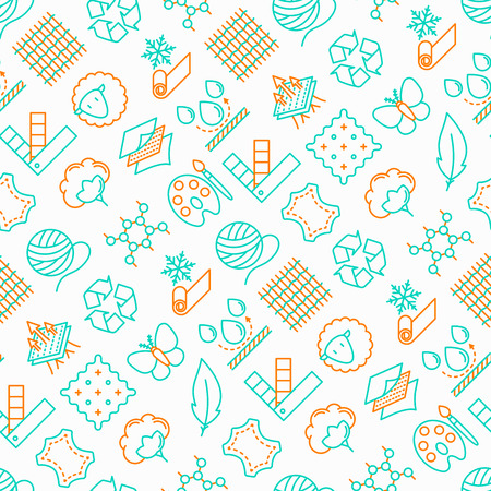 Fabric feature seamless pattern with thin line icons: leather, textile, cotton, wool, waterproof, acrylic, silk, eco-friendly material, breathable material. Modern vector illustration.