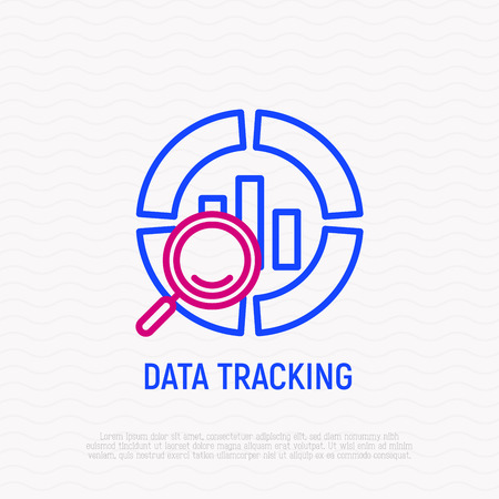 Data tracking thin line icon. Modern vector illustration. Vectores
