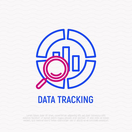 Icono de delgada línea de seguimiento de datos. Ilustración de vector moderno.