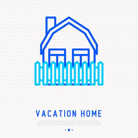 Vacation home thin line icon. Modern vector illustration. 矢量图像