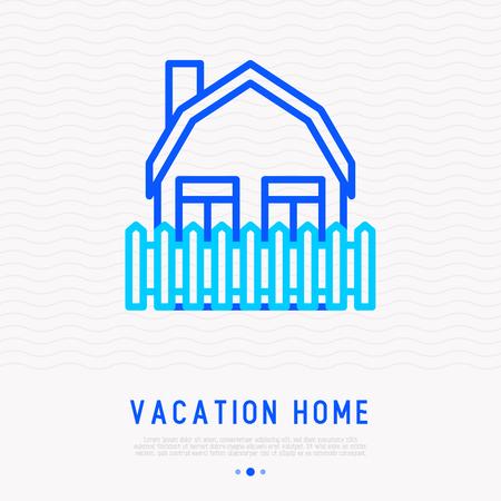 Vacation home thin line icon. Modern vector illustration. Иллюстрация