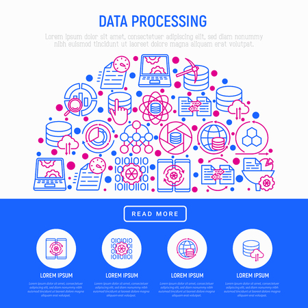 Data processing concept in half circle with thin line icons: data science, filtering, deep learning, mobile syncing, big data, tracking, cloud database. Modern vector illustration for print media.