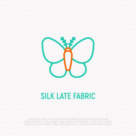 Silkworm thin line icon, symbol of silk late fabric. Modern vector illustration.