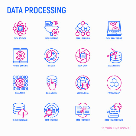 Data processing thin line icons set: data science, filtering, deep learning, mobile syncing, big data, modeling API, usage, tracking, cloud database. Modern vector illustration.
