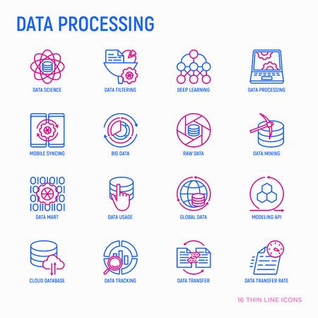 Data processing thin line icons set: data science, filtering, deep learning, mobile syncing, big data, modeling API, usage, tracking, cloud database. Modern vector illustration. Illustration