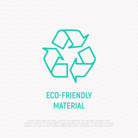 Eco-friendly material, recycle symbol from three arrows thin line icon. Modern vector illustration.