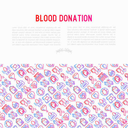 Blood donation, charity, mutual aid concept with thin line icons. Symbols of blood transfusion, medical help and volunteers. Modern vector illustration, poster, print media for World donors day.