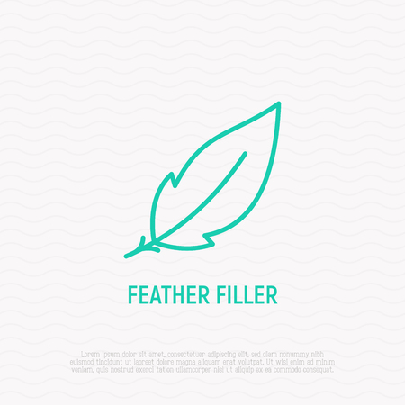 Feather filler sign. Modern vector illustration, thin line icon. Illustration