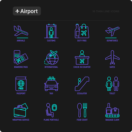 Airport thin line icons set: check-in counter, gates, boarding pass, escalator, toilet, food court, baggage claim, wrapping service, duty free, customs. Vector illustration for black theme.