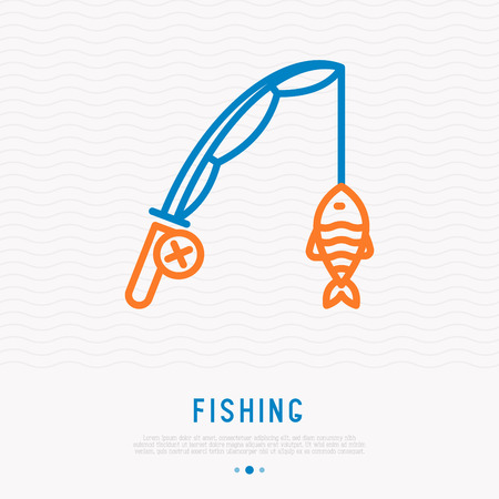 Fishing rod with fish on hook thin line icon. Modern vector illustration.
