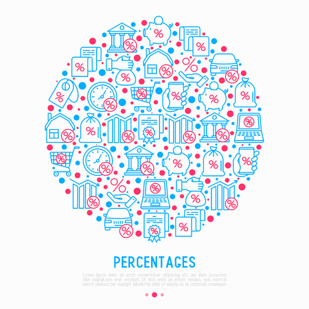 Percentages concept in circle with thin line icon: loan, credit, offer, interest rate, sale, discount, percentage graph of growth or fall, leasing, on screen of laptop. Modern vector illustration. Illustration